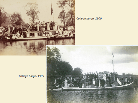 College barge photos from 1900 and 1909