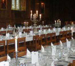 Tables laid in Hall